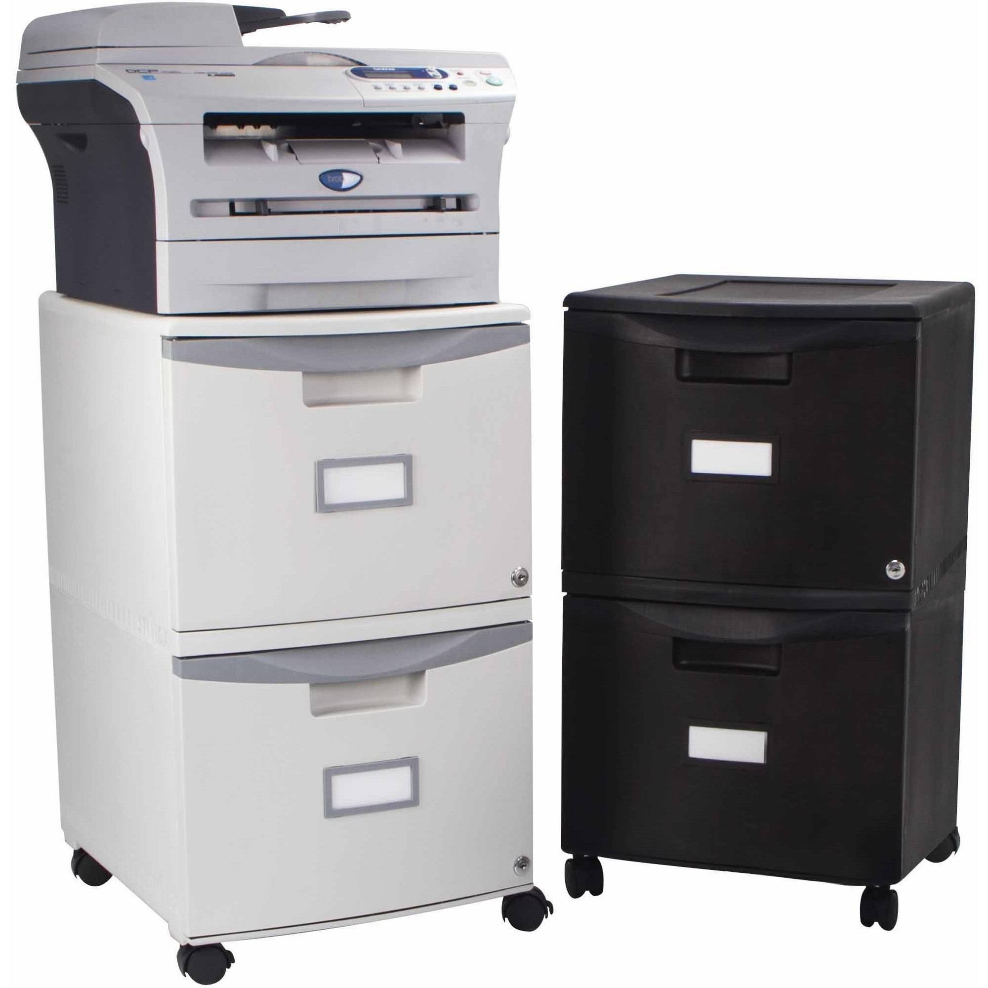 Storex 2 Drawer Mobile File Cabinet With Lock And Casters, Legal/Letter  Image