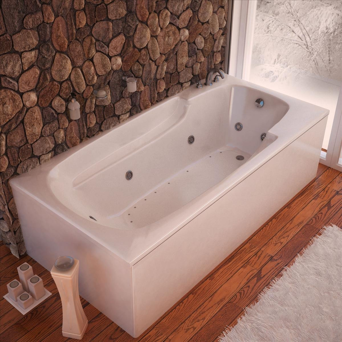 Atlantis Tubs 3260EDL Eros 32 x 60 x 23 - Inch Rectangular Air & Whirlpool Jetted Bathtub w/ Left Side Pump Placement