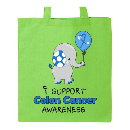 I Support Colon Cancer Awareness Elephant with Balloon Tote Bag Lime Green One Size - Breast Cancer Bags