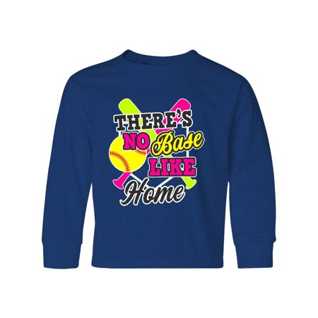 Softball Theres No Base Like Home in White Youth Long Sleeve T-Shirt