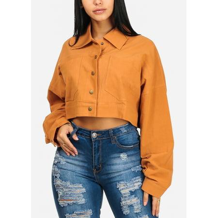 Womens Juniors Cotton Long Sleeve Button Up Camel Crop Top W 2 Front Pockets 41478P