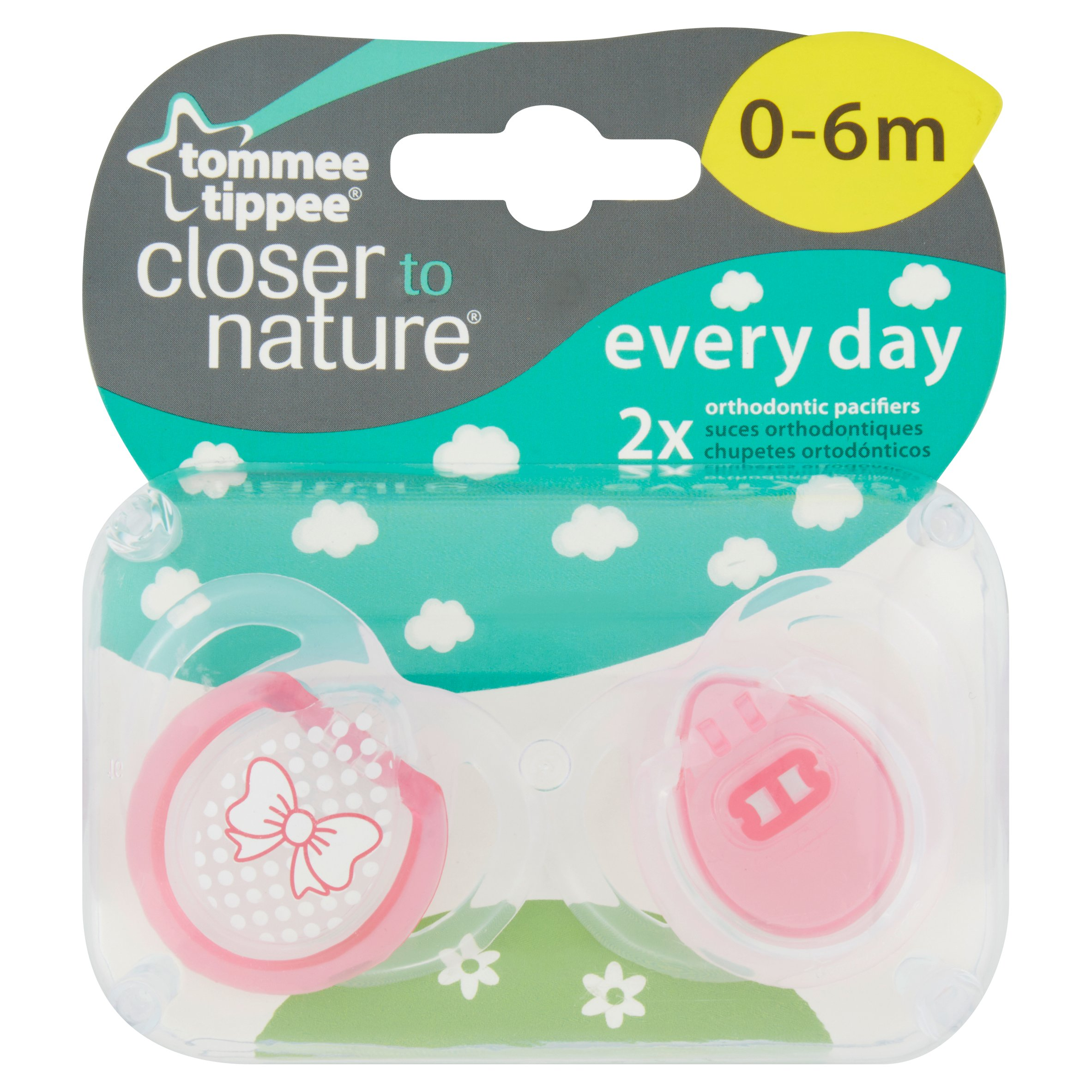 Tommee Tippee Closer to Nature 0-6 Month Everyday Pacifiers, 2pk, Girl by Tommee Tippee
