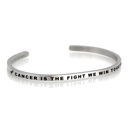 Dolceoro Inspirational Mantra Cuff Band, CANCER IS THE FIGHT WE WIN TOGETHER, Surgical Grade 316L Stainless Steel (Cancer Hand Bands)