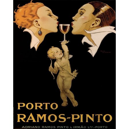 Porto Ramos Pinto 20x16 Art Print Poster Wine Port Angel VINTAGE Advertising Bar..., By Buyartforless Ship from US