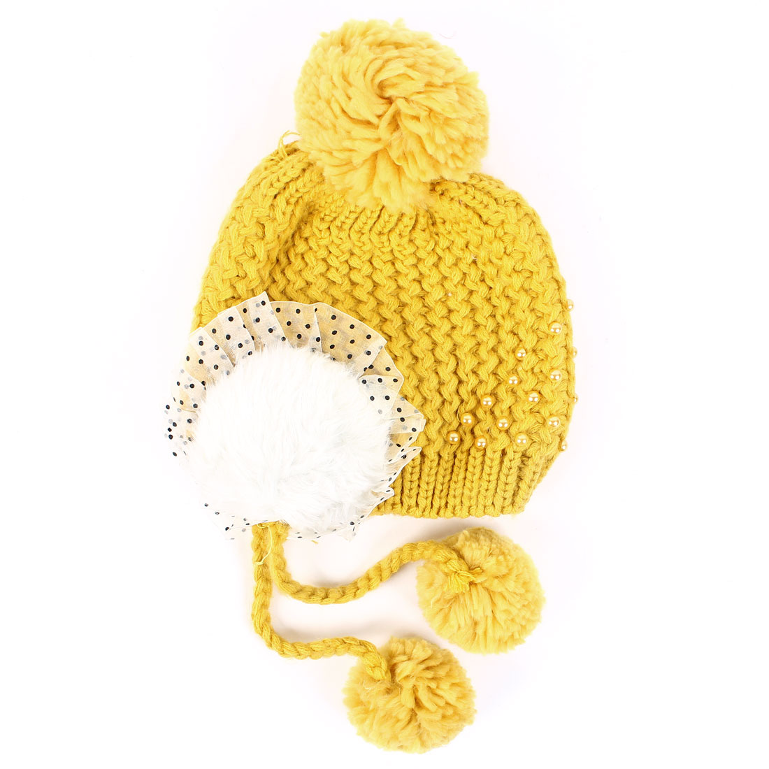 Yellow Pom Pom Pearl Decor Knitted Ear Flap Hat For Women