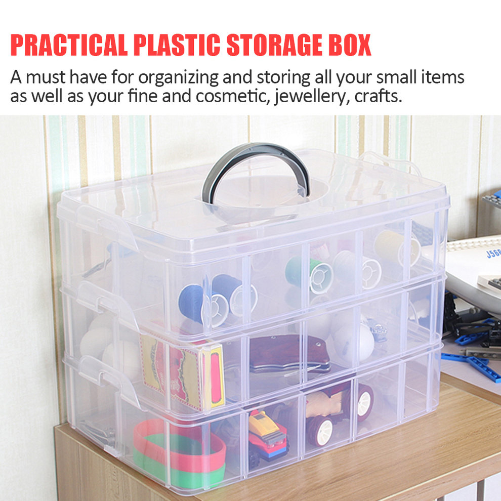Practical Plastic Storage Box Container Case 30 Organizer Nail Polish Jewelry Craft Makeup Storage Box with A Handle