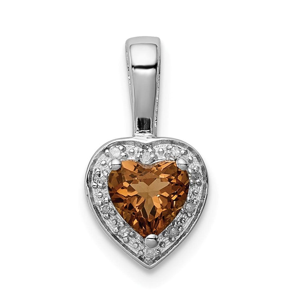 Sterling Silver Diamond Whiskey Quartz Pendant