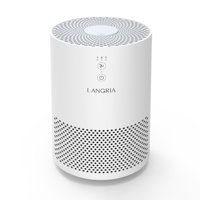 LANGRIA Compact Air Cleaner with 3 Stage Filtration with True HEPA Filter, Portable Allergen Remover, Plug-in Dust Smoke Odor and Pet Dander Purifier, Powerful and Silent 110 V (Model:EPI080, White)