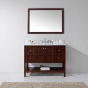 "Virtu USA Winterfell 48-inch Single Bathroom Vanity Cabinet Set in Cherry Winterfell 48"" Round White MarbleTop in Cherry"