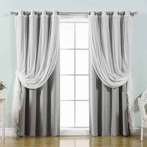 Grey 52 x 96 In. Sheer Lace and Blackout Window Treatments, Set of Four
