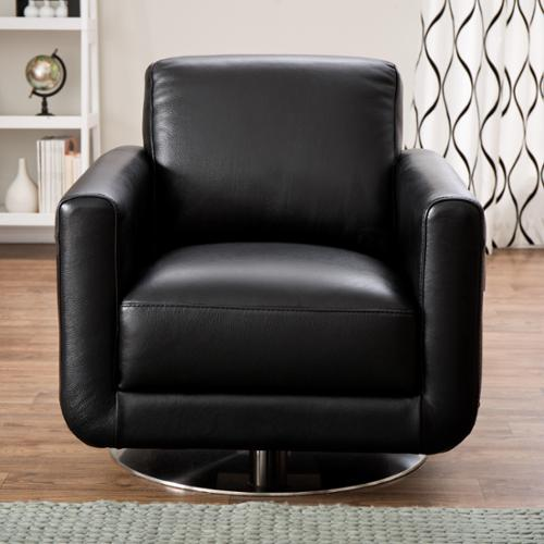 Natuzzi Siena Black Italian Leather Swivel Chair & Natuzzi Siena Black Italian Leather Swivel Chair - Walmart.com