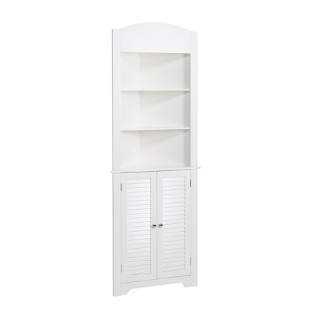 Colonial White Cabinets - RiverRidge Home Ellsworth Collection - Tall Corner Cabinet - White