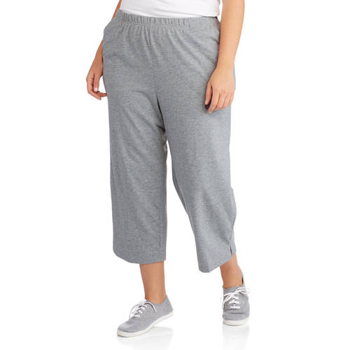 White Stag Women's Plus-Size Essential Pull-On Knit Capris ...