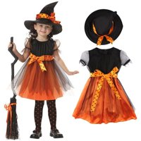 Toddler Girl Halloween Fancy Dress Party Witch Costume Outfit Clothes + Hat Set