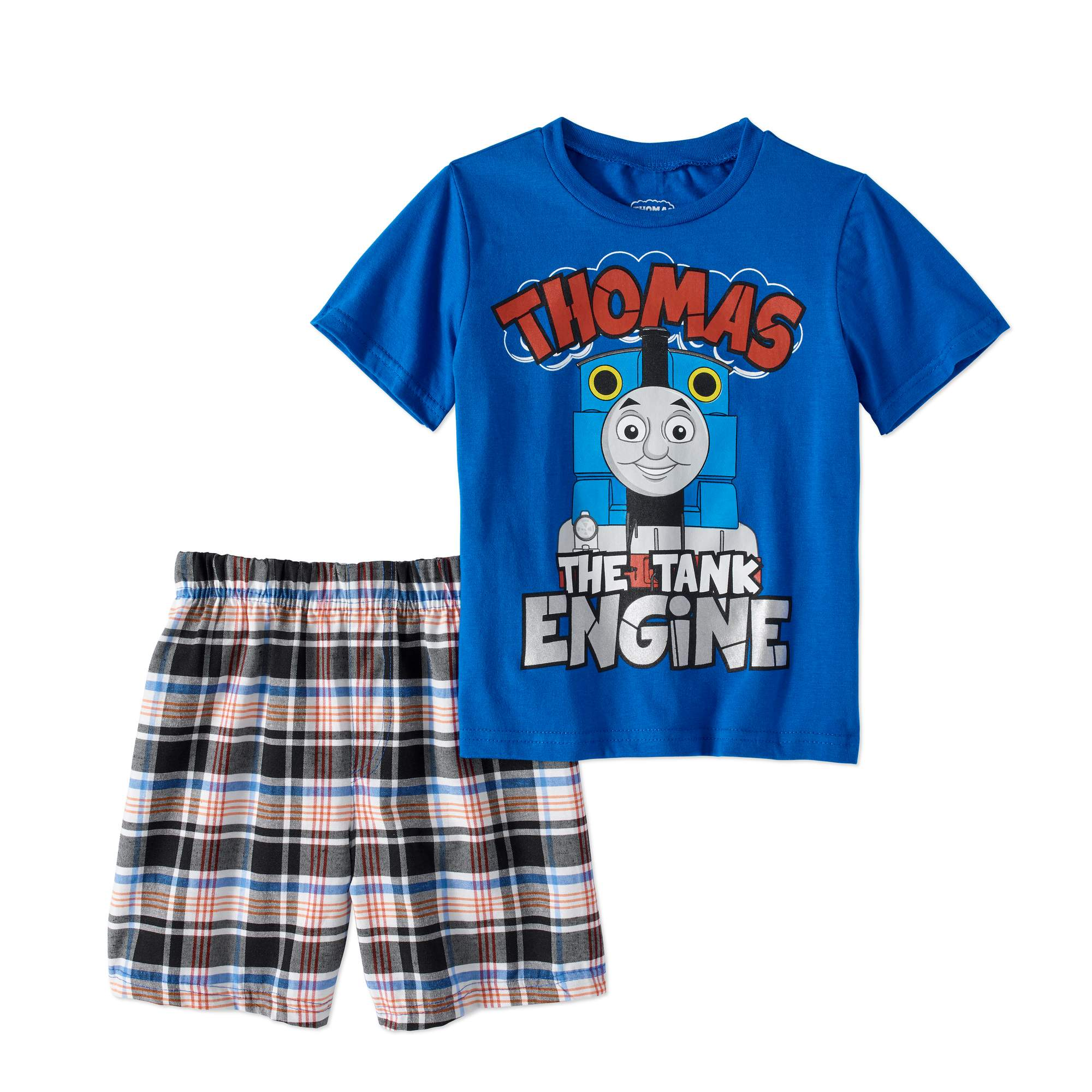 Thomas the Train Baby Toddler Boy T-shirt & Plaid Shorts, 2pc Outfit Set
