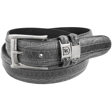 Stacy Adams Belts Stacy Adams 35mm Grey Tri-Leather Big and Tall Embossed, Croc, Lizard, Snake Belt