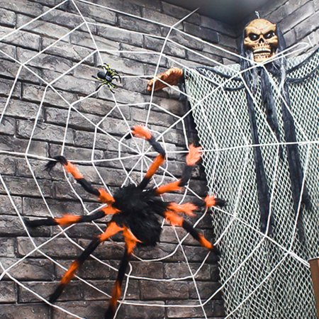 Halloween Toys ,Scary Halloween Giant Spider Outdoor Decor Yard Decorations, Fake Large Hairy Spider Props with Spider Web - Scary Halloween Decorations Printable