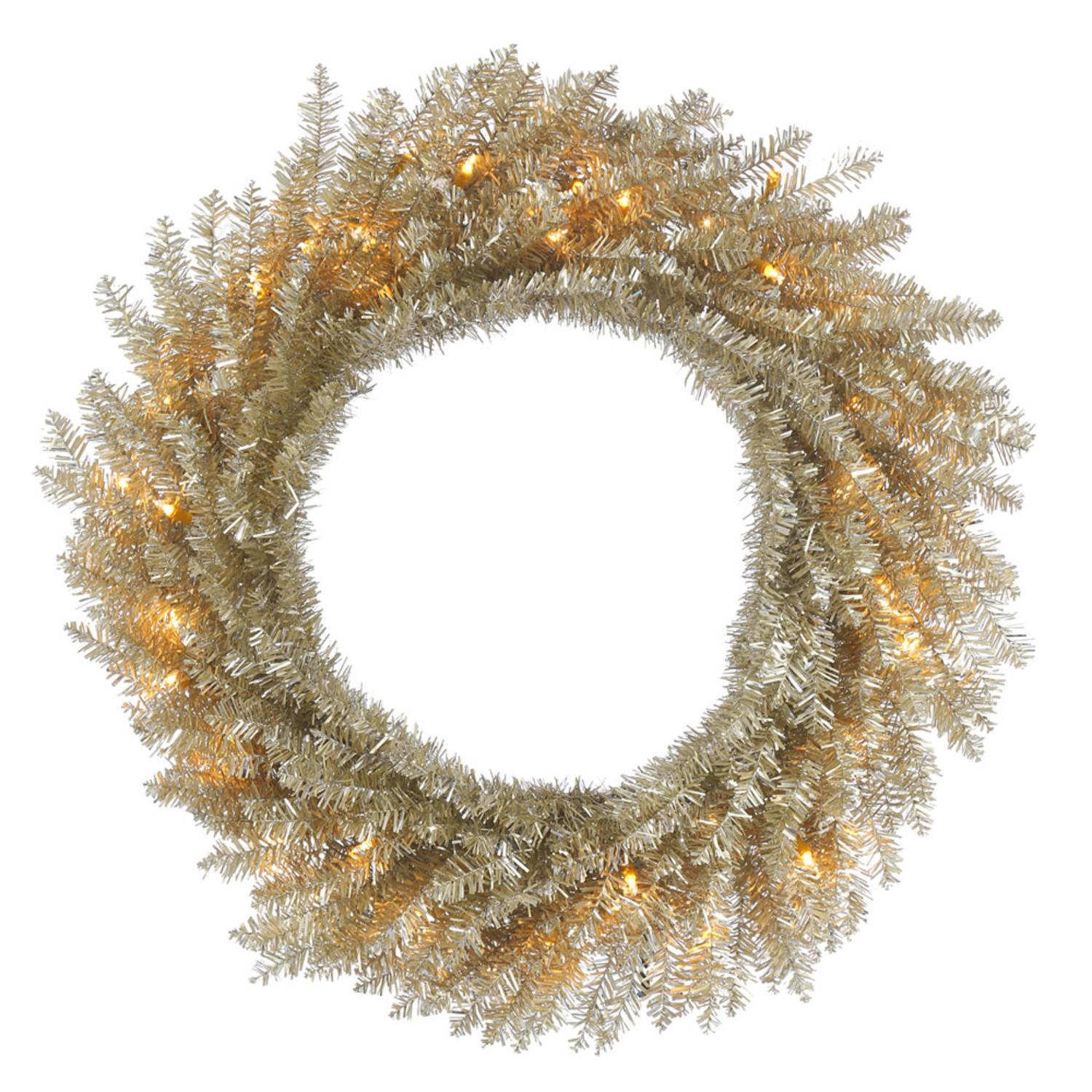 "24"" Pre-Lit Champagne Tinsel Artificial Christmas Wreath - Clear Lights"