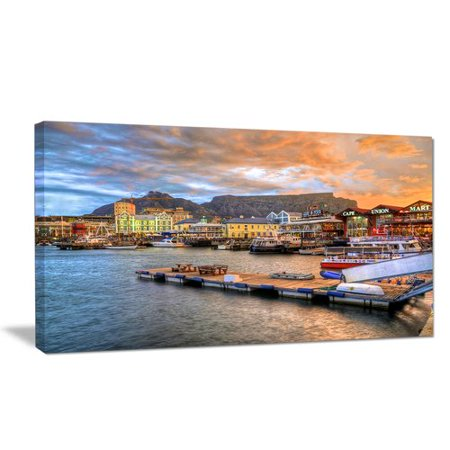 Design Art 'Cape Town Waterfront at Sunset' Photographic Print on Wrapped Canvas