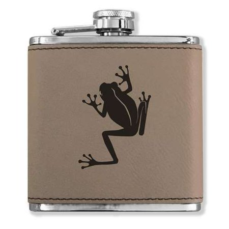 Faux Leather Flask - Tree Frog - Light