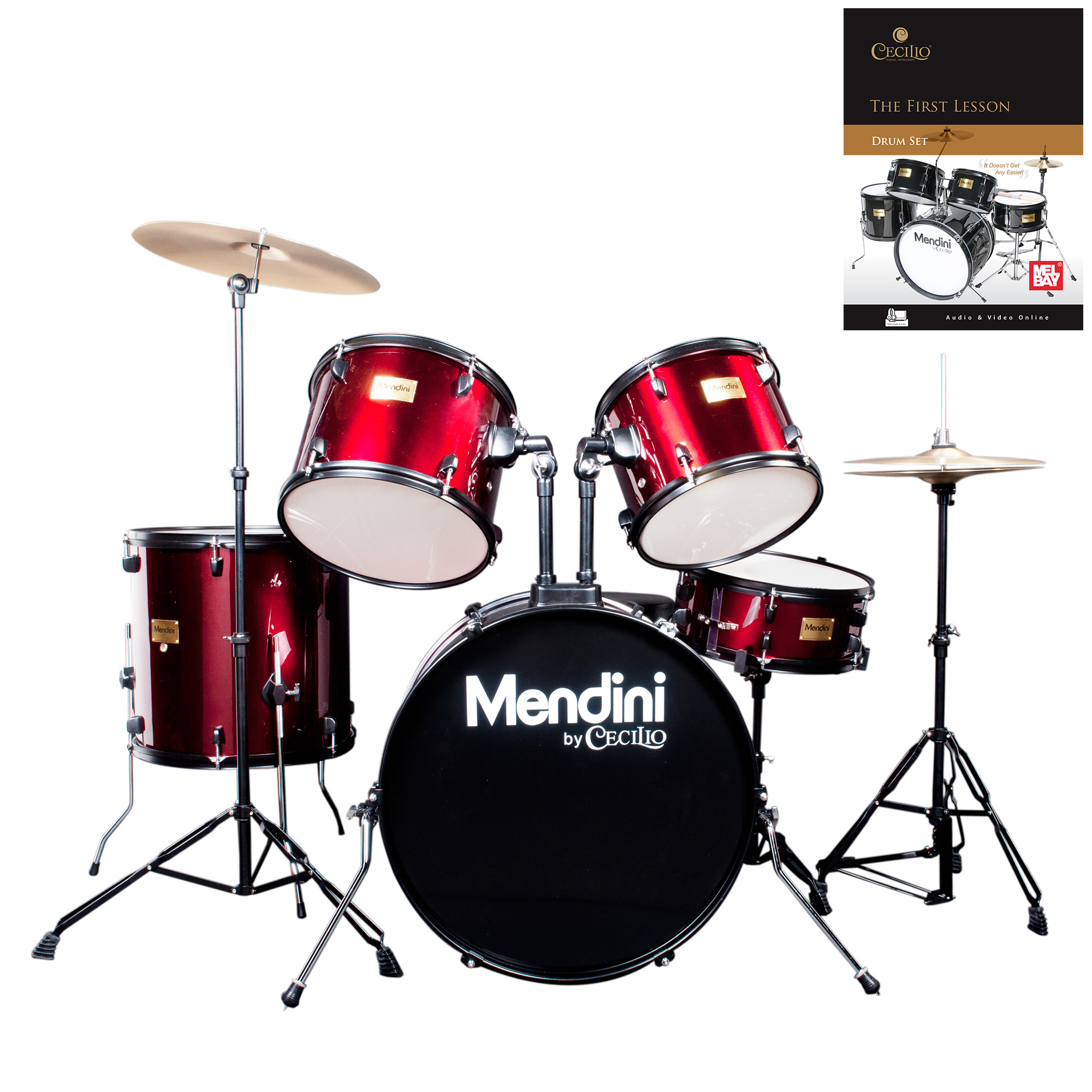 Mendini by Cecilio Complete Full Size 5-Piece Adult Drum Set w/ Cymbals Pedal Throne Sticks, Lesson Book, Metallic Bright Red MDS80-BR
