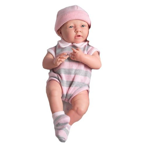 JC Toys La Newborn - 14'' Real Girl Vinyl Doll with Pink Knit Outfit