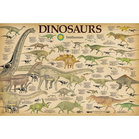 Dinosaurs Smithsonian Science Classroom Chart Poster 36x24 inch (Dinosaurs Size Chart)