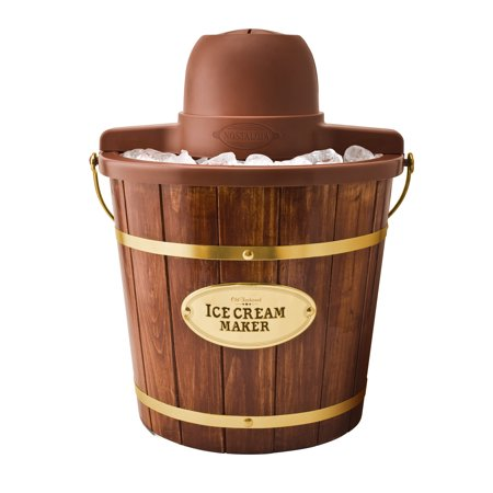 Nostalgia ICMW400 Vintage Collection 4-Quart Wood Bucket Electric Ice Cream Maker with Easy-Clean (Best Nostalgia Electrics Ice Cream Machine)