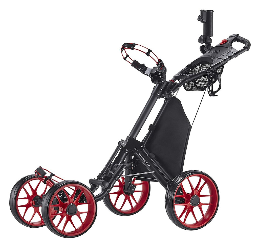 CaddyTek One-Click Folding 4 Wheel Version 3 Golf Push Cart, Red