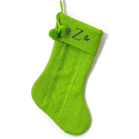 Monogrammed Christmas Stocking, Green Cable Knit with Poms with Red Serif Glitter Initial ()