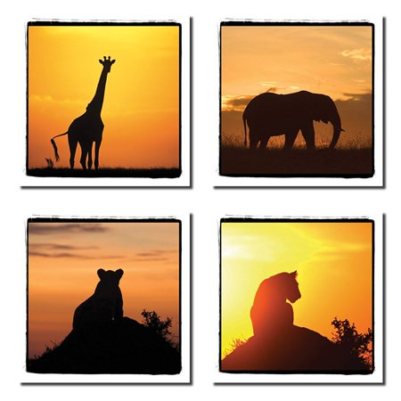 4 African Safari Animals Silhouettes at Sunset Giraffe Elephant Lion; Four 12x12in Poster Prints