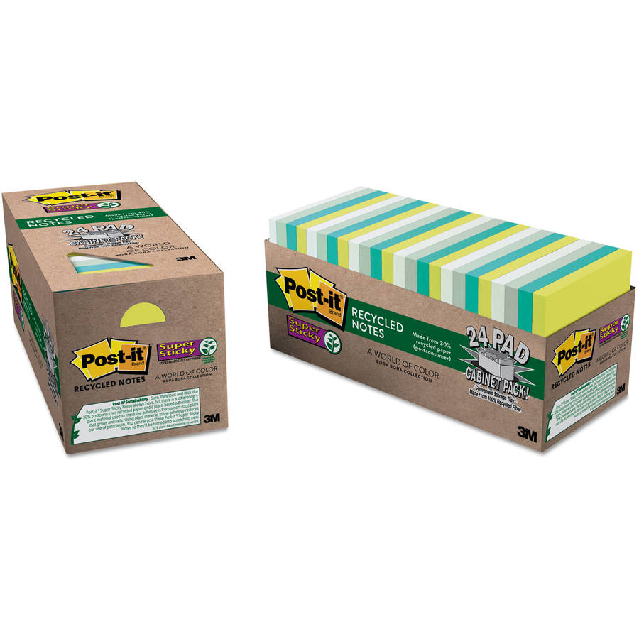 Post-it Recycled Notes in Bora Bora Colors, 3 x 3, 70/Pad, 24 Pads/Pack