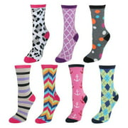 CTM® Size Medium Girls Mismatch Crew Length Assorted Socks (Pack of 7), Multicolor