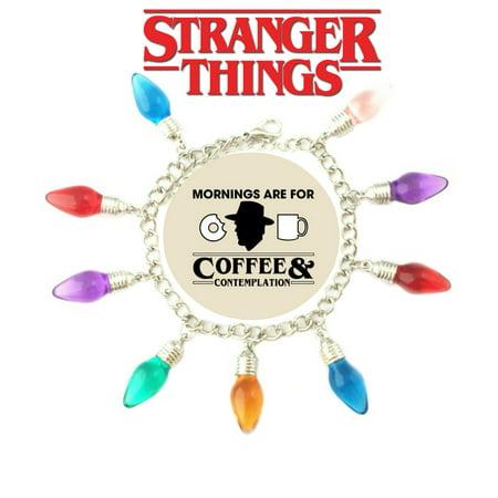 Stranger Things Eleven Lights Charm Bracelet TV Show Series Jewelry Multi Charms - Wristlet - Superheroes Brand Netflix Collection - Netflix Halloween