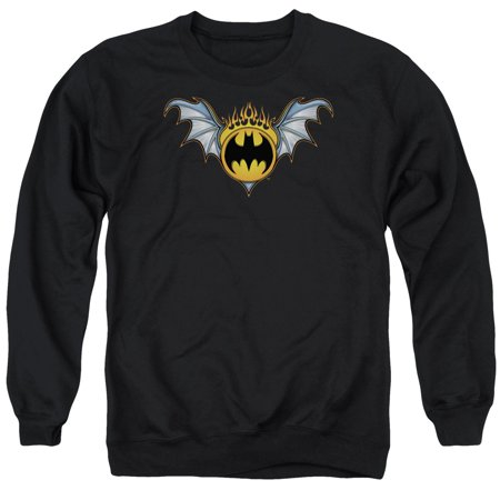 Batman DC Comics Bat Wings Flaming Logo Adult Crewneck Sweatshirt (Flames Adult Sweatshirt)