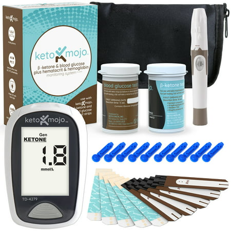 Keto-Mojo Blood Ketone and Glucose Testing Kit, Monitor Your Ketogenic Diet, 1 Meter, 1 Lancing Device, 10 Lancets, 10 Ketone Test Strips, 10 Glucose Test Strips, Carrying