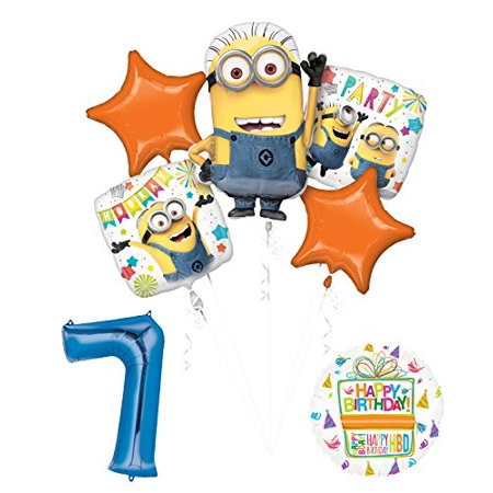 Despicable Me 3 Minions 7th Birthday Party Supplies and balloon Decorations - Minion Ballons