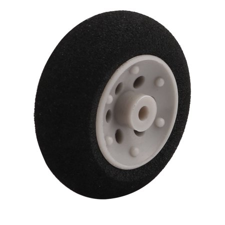 Black Ultralight Rubber Sponge Wheel 25mm x 10mm for 2mm Shaft Dia RC