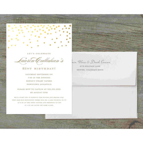 Gold Dots Deluxe Birthday Invites