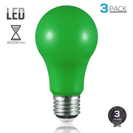 TORCHSTAR Pack of 3, Army Green LED A19 Colored E26 Medium Base Light Bulb, 7W (50W Equiv.), 3 Years Warranty, 20,000hrs, Non-dimmable