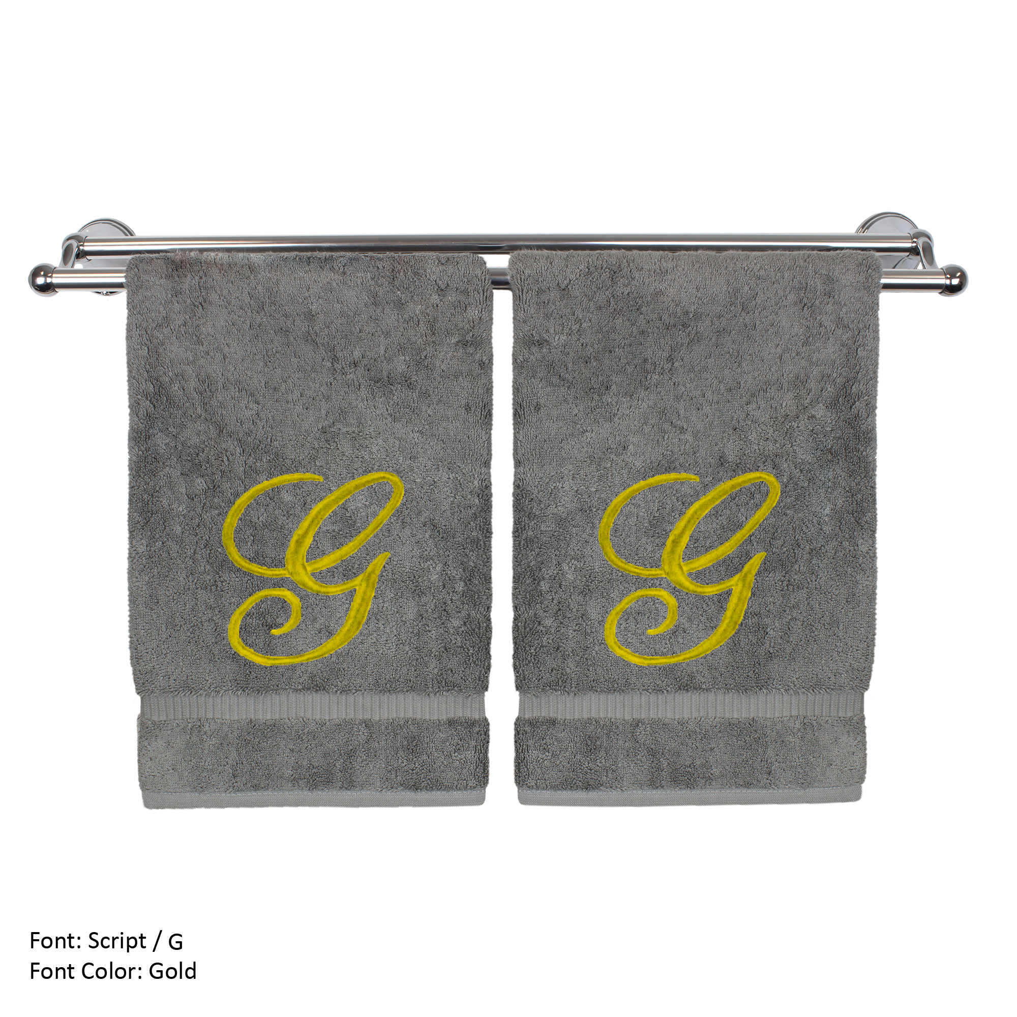 Monogrammed Washcloth Towel, Personalized Gift, 13x13 Inches - Set of 2 - Gold Script Embroidered Towel - Extra Absorbent 100% Turkish Cotton - Soft Terry Finish - Initial G Gray Towels