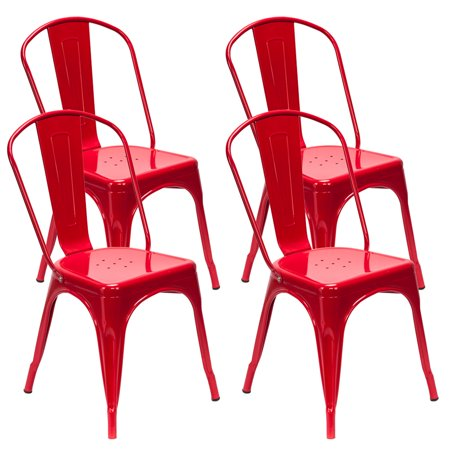 Classic Iron Metal Dining Chairs Set of 4, Distressed Style Compact Stackable Side Chairs with Sturdy Metal Legs and Protect Pads, for Restaurants, Pubs, Cafes, Gatherings, Commerce Activity, S12746 ()