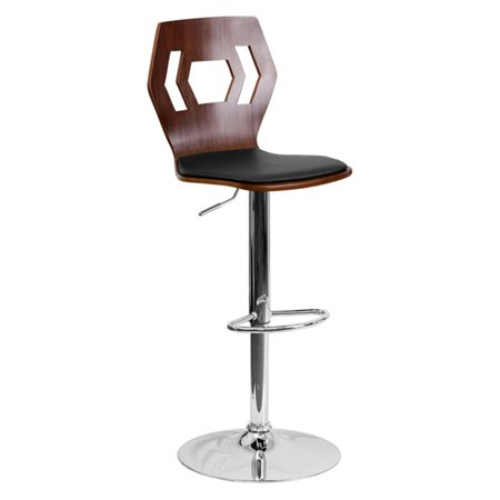 Flash Furniture Walnut Bentwood Adjustable Height Barstool with Black Vinyl Seat and Cutout -