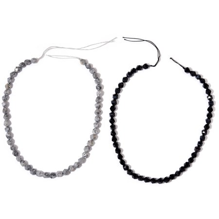 Larimar Crazy Lace Agate Beads (DIY Jewelry Making Tools Black Lace Agate Enhanced Beads Set of 2 Choker String for Women)