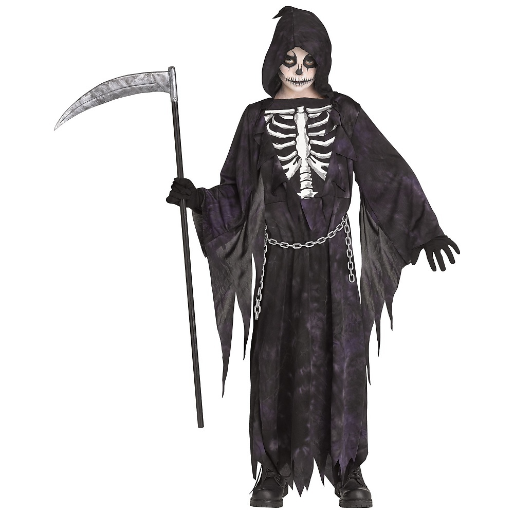 Childs Boy/'s Grim Reaper Hooded Horror Death Robe Costume Large 12-14