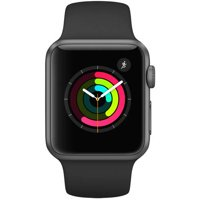 Refurbished Apple Watch Series 1, 38mm Aluminum Space Gray Case with Black Sport Band