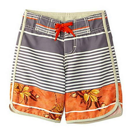 Azul Little Boys Gray Orange Leaf Stripe Print Urban Escape Board Shorts