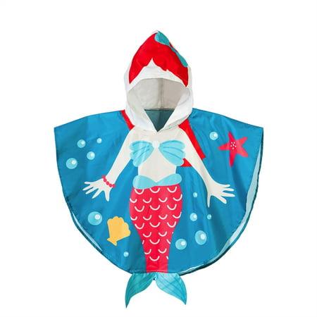 Splish Splash Little Mermaid Toddler Rain Poncho, -