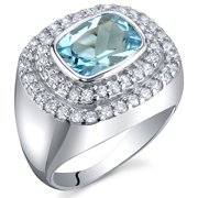 2.25 Ct Swiss Blue Topaz Engagement Ring in Rhodium-Plated Sterling Silver