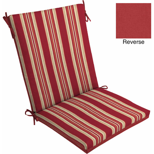Mainstays Outdoor Dining Chair Cushion, Red Stripe